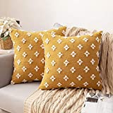 MIULEE Set of 2 Decorative Throw Pillow Covers Rhombic Jacquard Pillowcase Soft Square Cushion Case for Couch Sofa Bed Bedroom Car Living Room, 18x18 Inch, Yellow
