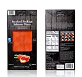 New York's Delicacy Smoked Salmon Sockeye - 6 x 3.5 Oz. (1.31 lb) - Kosher Certified, Gluten Free, High in Omega 3 - Naturally Wild Caught in the Northeast Pacific Ocean - Pre-Sliced, Ready to Eat