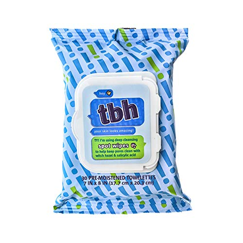 TBH Kids Spot Wash Wipes - Face Cleansing Wipes - Flushable Wipes Kids - Acne Prevention - Sulfate, Paraben Free - 30 Pack