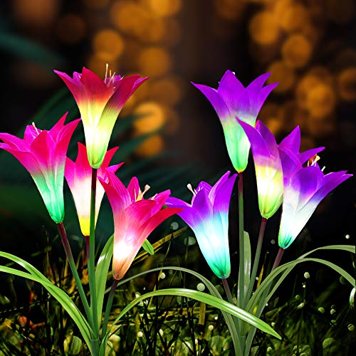 Solar Lights Outdoor - New Upgraded Solar Garden Lights? Multi-Color Auto-Changing 8 Bigger Lily Flower Decorative Lights for Garden,Patio,Yard Decoration (2 Pack,Purple&Red)