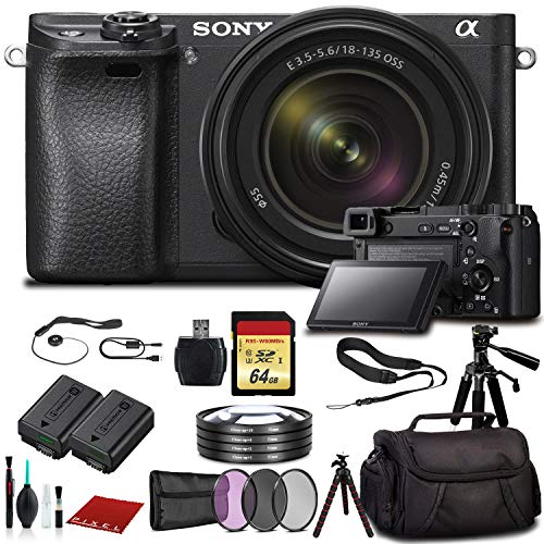 Sony Alpha a6500 Mirrorless Digital Camera with 18-135mm Lens (ILCE-6500M/B) with Bag, Tripod, Extra...