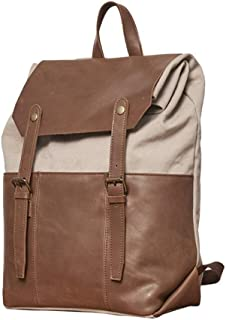WENQU Travel Bag Backpack for Men Canvas Mad Horse Leather Backpack Notebook Large Capacity Computer Grownup Bag Fashion Casual Shopping Bag (Color : Brown, Size : 30 * 42 * 16cm)