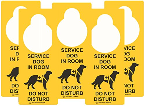 """SecurePro Products Service Dog Information Travel Pack - Includes: 5 """"Service Dog In Room/ Do Not Disturb"""" """"Premium Quality Vinyl"""" Plastic Double-Sided Door Hanger Signs + 5 ADA Service Dog Info Cards"""