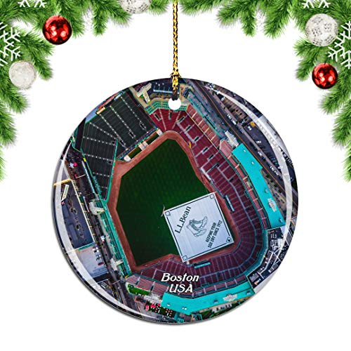 Weekino USA America Fenway Park Boston Christmas Xmas Tree Ornament Decoration Hanging Pendant Decor City Travel Souvenir Collection Double Sided Porcelain 2.85 Inch
