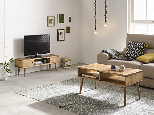 Hogar24-Conjunto 2 Muebles: Mesa de Centro diseño Vintage + Mueble televisión, Madera Maciza Natural, fabricación Artesanal