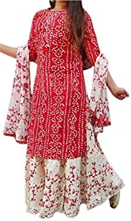Go Best Rayon Kurti with Skirt and Chunni for Women and Girls Red (XX-Large)