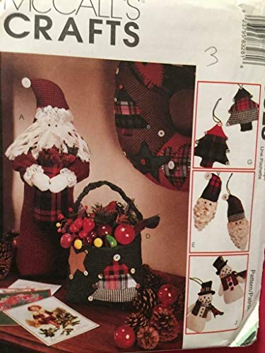 McCall's Crafts Pattern 8328 ~ Christmas Tree Ornaments; Santa & Santa's Bag Centerpieces; Quilted Wreath & Stocking