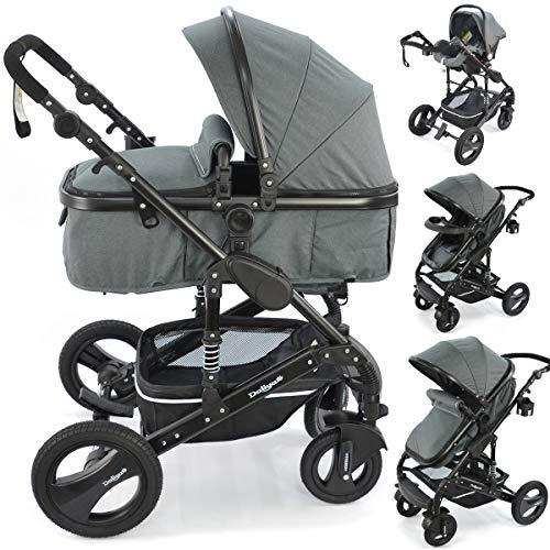 Kinderwagen 3in1 Modell Bambimo von Daliya Riesen 14-Teile Set mit Babyschale in verschiedenen Farben incl. Wickeltasche/Regenschutz/Tisch (Dunkel Grau)