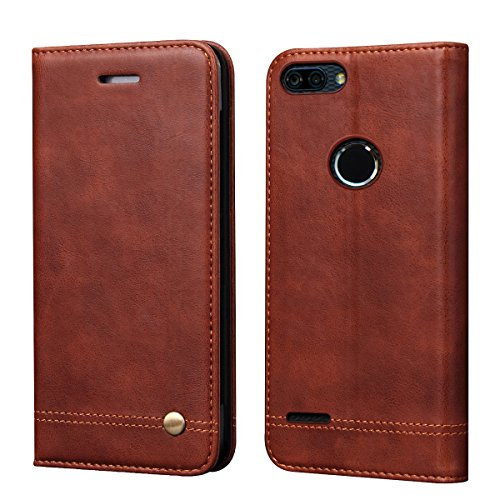 ZTE Blade Z Max Case, ZTE ZMax Pro 2 Case, ZTE Sequoia Case,RUIHUI Luxury Leather Wallet Folding Flip Protective Case Cover with Card Slots,Kickstand Feature and Magnetic Closure for ZTE Z982 (Brown)