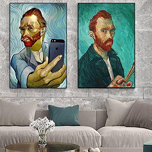 XNHXPH Carteles e Impresiones de Van Gogh Selfie Abstracto por teléfono Lienzo Vintage Arte de la Pared Pintura Famosa para la Sala de Estar Decoración del hogar Imágenes 50x70cmx2 Sin Marco