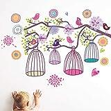 DINGDONG ART Sticker Mural Brindille Cage À Oiseauxpour Enfants Chambres De Bébé Salon Chambre Décorations De Fond Papier Peint Pépinière Amovible