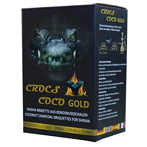 CROCS COCO Gold I Shisha Kohle I Kokosnuss Kohle mit Langer Brenndauer I wenig Asche I geringer Rauchentwicklung I Nachhaltige Naturkohle Shisha I Shisha Würfel mit Premium Qualität I 1kg
