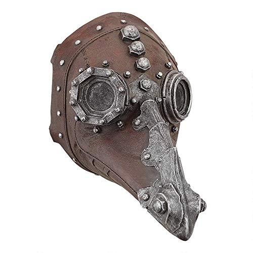 Design Toscano Doctor of Death Plague Mask Steampunk Décor Wall Sculpture, 8' Wx6 Dx7½ H, Faux Leather and Pewter Finish