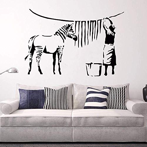 Wall Stickers,Banks style wall decals zebra stripes wash lady wall stickers graffiti removable wallpaper painting vinyl art 82x57cm