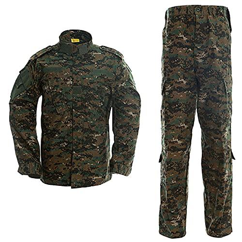 LANBAOSI Men's Tactical Jacket and Pants Military Camo Hunting ACU Uniform 2PC Set Army Multicam Apparel Suit