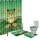 WOSBE 16-teiliges Duschvorhang-Set Rutschfester Teppich Teppich Toilettendeckel Duschvorhang Lustiger Frosch Macht Gesicht auf dem grünen Lotusblatt Niedlicher Stil mit 12 Haken