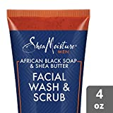 SheaMoisture Face Wash & Face Scrub for Men African Black Soap Face Cleanser with Shea Butter 4 oz...