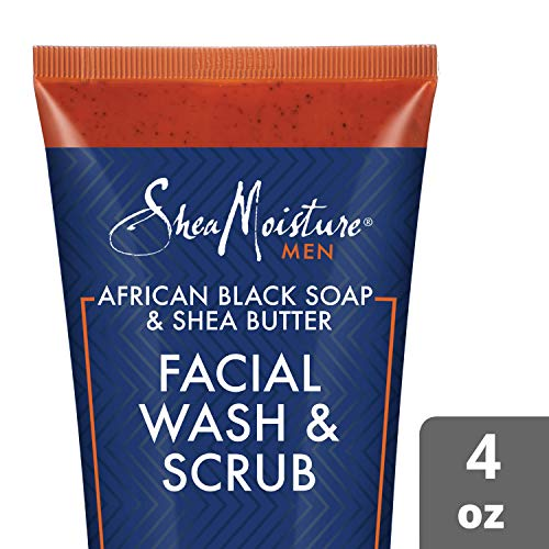SheaMoisture Face Wash & Face Scrub for Men African Black Soap Face Cleanser with Shea Butter 4 oz (M-BB-2980)