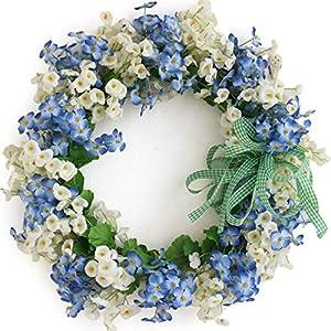 SMLJFO 14 Door Wreath Fake Silk Spring/Summer Wreath Artificial Flower Farmhouse Wreath for Front Door, Hanging Wreath Garland Wall, Wedding Decoration Blue