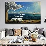 ganlanshu Rahmenlose MalereiSurreales Seestück-Leinwandkunstplakat und abstrakte Wandmalerei auf...