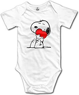 Mabell Unisex Baby Short Sleeve Peanuts Comic Snoopy Hug Love Onesies