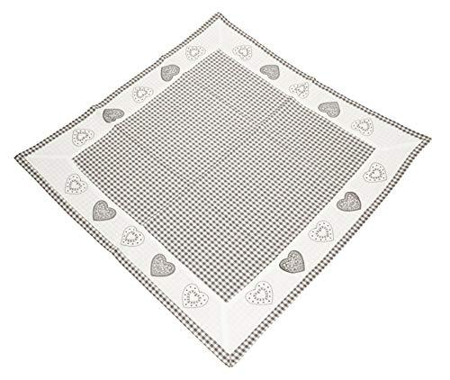 Landhaus tafelkleed eenkleurig & wit geruit rand met hartjes geborduurd tafelkleed vierkant 85x85 cm grappig ruitpatroon en sierborduurwerk landhuis 85 x 85 cm grijs