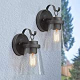 LOG BARN 2 Pack Outdoor Wall Sconce Lighting, Outdoor Light Fixtures Wall Mount Porch Lights, 1-Light Light in Antique Silver Finish with Clear Glass for House, A04109BD