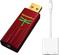 AudioQuest Dragonfly Red Mobile Bundle with DragonFly Red (Portable USB Preamp, Headphone Amp/DAC) and Lightning to USB 3 Camera Adapter for Compatible Connection with Select iPhones, iPads, and iPods