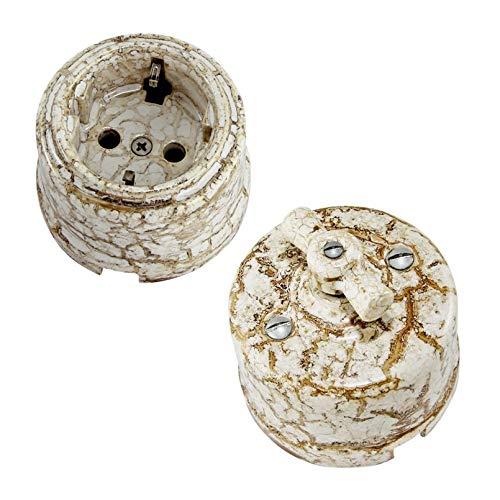 Enchufe Base de Porcelana Antiguos Porcelana Interruptores de luz vintage rotativo 10A 240V
