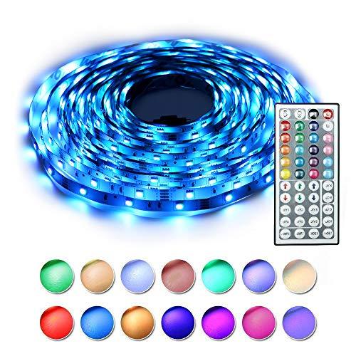 BAILONGJU Led Strip Lights kit 5M 16.4 Ft 5050 RGB 150 LEDs Flexible Color Changing Strip Lights with Remote 44 Keys 12v Power Supply, Rope led Lights for Home, Kitchen, Bedroom Decorative