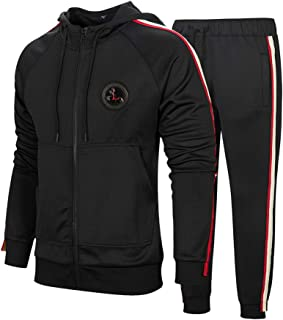 DUOFIER Men's Hooded Athletic Tracksuit Casual Full Zip Jogging Sweatsuits