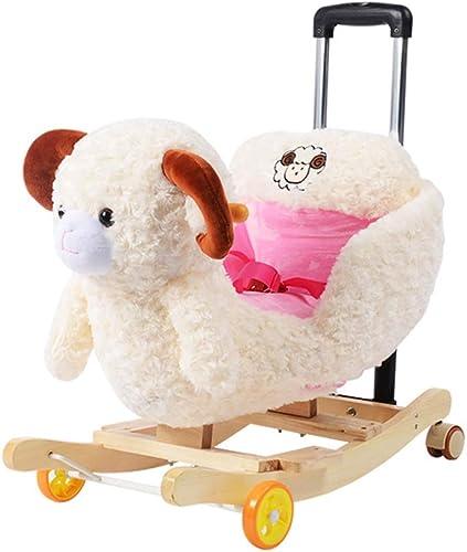 FJH Schaukelpferde Schaukelpferd Kinder Massivholz Musik Trojaner Baby Schaukelstuhl Schaukel Wiegen Baby Spielzeug Geschenk 60  28  53 cm (Farbe   B)