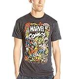 Marvel Men's Comics Crew T-Shirt, Charcoal Heather, Large