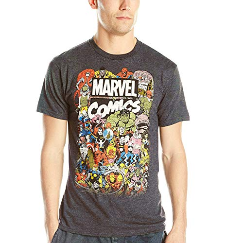Marvel Avengers Comics Crew - Camiseta para Hombre, Carbón Heather, Large