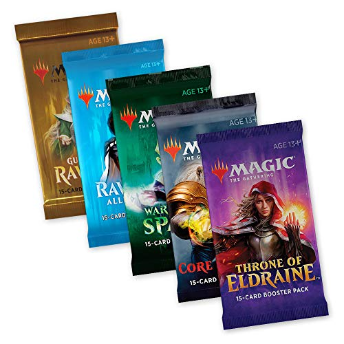 Magic The Gathering MTG Welcome Geschenk Set - 5 Booster Pack Eldraine Coreset M20 War of The Spark Allegiance Guilds of Ravnica - englisch