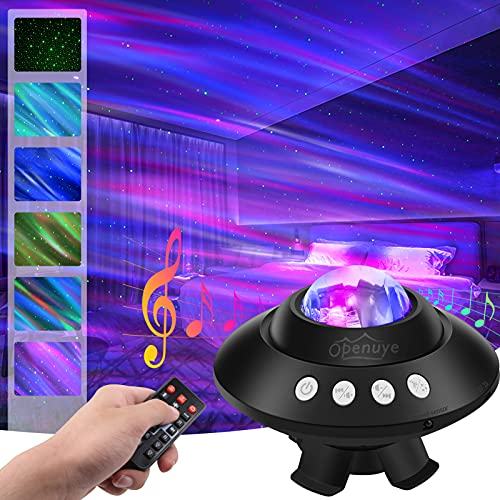 Star Projector, Openuye Galaxy Projector Aurora Star Light Projector with Bluetooth Speaker/Remote Control/Timer, Night Light Projector for Bedroom for Kids Sleep, Party/Home Theater Mood Ambience