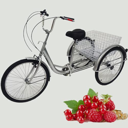24' Adult Tricycle Bicycle 6 Speed Cargo Trike Cruiser Cycling Tricycle 3 Wheel...
