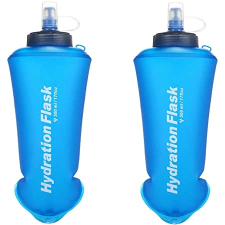 TPU Soft Folding Water Bottles BPA-Free Collapsible Flask for Hydration Pack