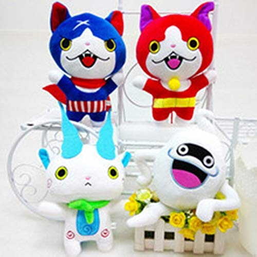 JIAL Stofftier 4 Stück/Set Yokai Yo Kai Uhr Flüstern Jibanyan Komasan Plüschtiere Kawaii Spiel Cartoon Cat Stuffed Dolls 20cm Chongxiang