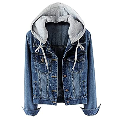 Women's Casual Detachable Hoodie Denim Jacket