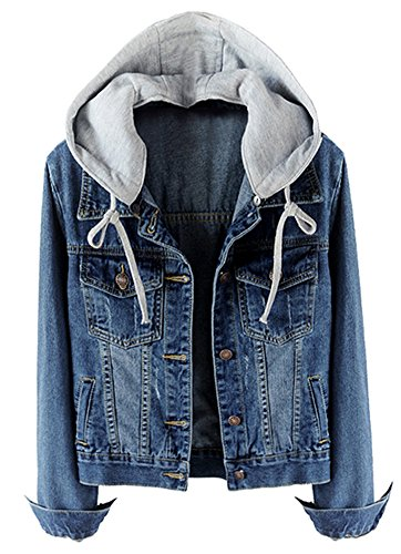 Womens Casual Detachable Hoodie Deep Blue Denim Jacket