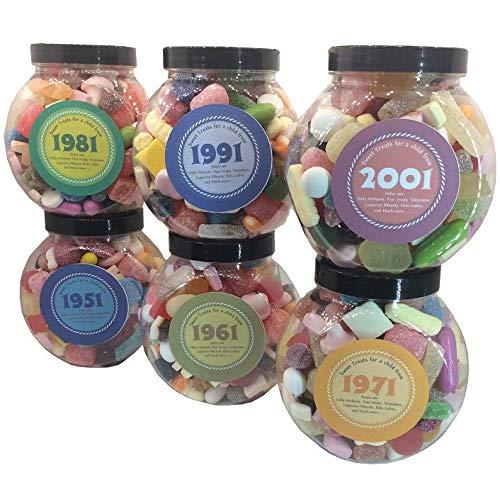 Personalised Birthday Retro Sw0eets Jar. Choose any decade. Inc. pear drops, kola cubes and many more.