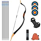 KAINOKAI 41' Small Dragon Bow - Youthbow Set,Recurve Bow and Arrow for Teens and Kids,Traditional Archery Horse Bow Longbow - Beginner Bows 14lbs