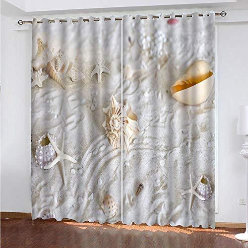 KAOLWY Cortinas Fruncidas Opacas Dormitorio,280x250cm Concha,Térmicas Aislantes De Salón Y Dormitorio Moderno 2 Piezas