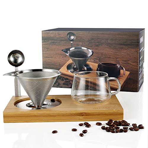 Pour Over Coffee Dripper Set Include Stainless Steel Paperless Reusable Filters, 8 Ounce Glass Cup, Spoon and Bamboo Base, Portable Single Cup Coffee Maker for Home Office - Gift-ready Package