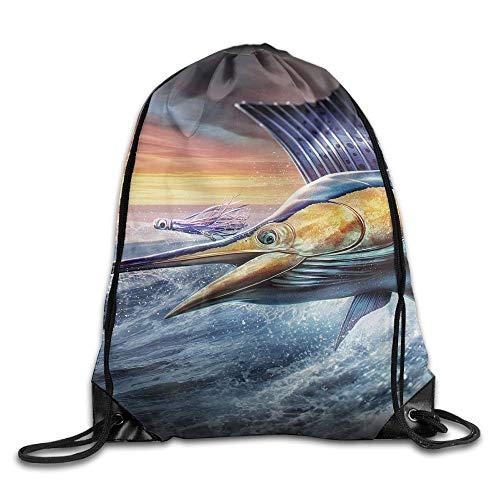 NA Cool Flying Sailfish Kordelzug-Rucksack, Sporttasche, tragbar, für Camping, Wandern, Schwimmen, Einkaufen, Wandern, Reisen, Strand