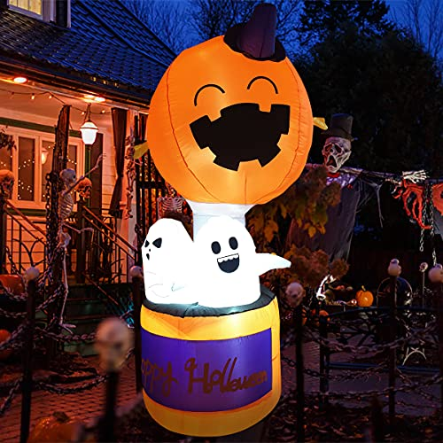 Halloween Party Decorations and Halloween Inflatables – 6FT Halloween Decorations Indoor with Pumpkin,Alien Party Decorations with Built-in Led Light