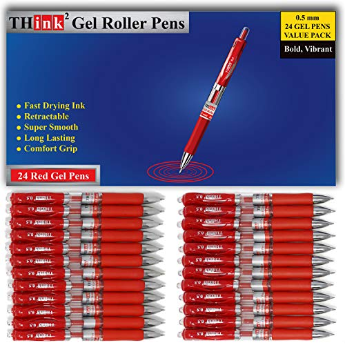 [24 Pens - Red Ink] Think2 Retractable Gel Pens. (24 Red) Fine Point (0.5mm) Rollerball Pens with Comfort Grip. PLEASE REMOVE THE WAX TIP ON THE POINT OF THE PEN BEFORE USING THE PEN.