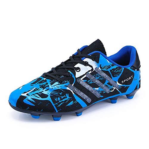 TYX Zapatos De Fútbol para Niños, Picos De Fútbol Antideslizantes Transpirables, Zapatos De Entrenamiento De Fútbol para Niños Y Niñas, Zapatillas Deportivas Al Aire Libre,Azul,36