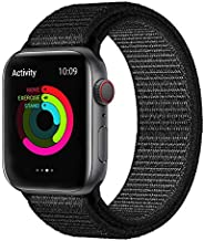 KONGAO Compatible for Apple Watch Band 38MM 40MM 42MM 44MM, Lightweight Breathable Soft Nylon Replacement Strap Compatible with Apple Watch iwatch Series 5 4 3 2 1 (42mm/44mm, x-Deep Black)